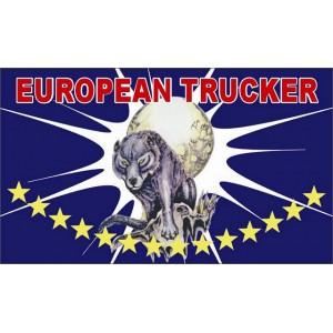 DRAPEAU FOND DE CABINE EUROPEAN TRUCKER LOUP LUNE