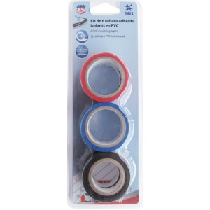 RUBAN ADHESIF ISOLANT PVC 19MM X 5M 6 PCES (NOIR-BLEU-ROUGE)