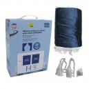 RIDEAUX DE COUCHETTE 1,20 x 1,55m BLEU (set 4 pces + 60 crochets)
